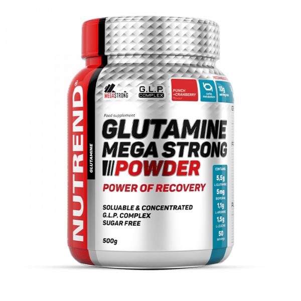 NUTREND GLUTAMINE MEGA STRONG POWDER, 500g, punch + cranberry Aminos