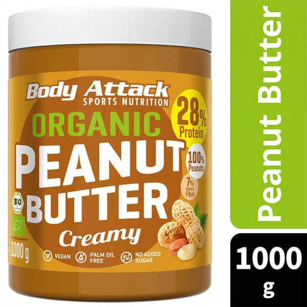 BODY ATTACK Organic Peanut Butter Crunchy 1000g