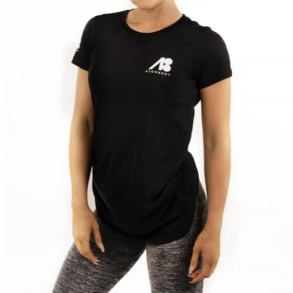 ATOMBODY T-Shirt basic ultra long, woman, M, black Sportbekleidung