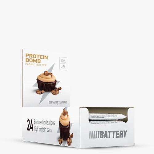 BATTERY PROTEIN BOMB, 24 x 60g, Peanut Caramel Bars und Snacks