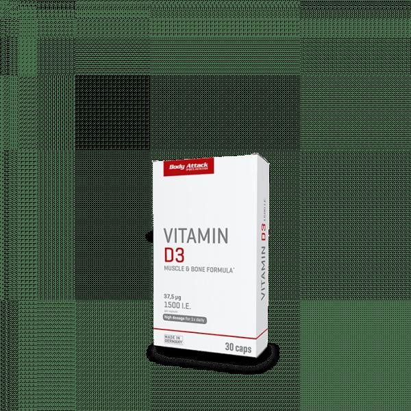 BODY ATTACK Vitamin D3, 30 Kapseln Vitamine und Mineralien